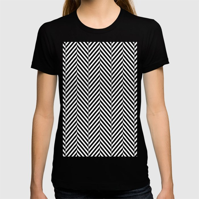 Classic Black & White Herringbone Pattern T-shirt