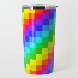 neon pixel 8bit rainbow Travel Mug
