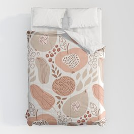 Hipster Kitchen Tropical Fruit and Leaves Design Comforters
