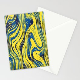 Marbled Yellow and Blue Stationery Cards