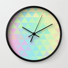 Holographic geometric vector background. 80s and 90s fashion design Wall Clock