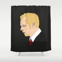 shaun of the dead Shower Curtains featuring Simon Pegg - Shaun Of The Dead by Tomcert