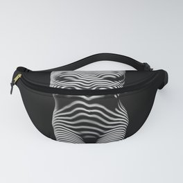 0029-DJA Zebra Standing Nude Woman Yoga Black White Abstract Curves Expressive Lines Slim Fit Girl Fanny Pack