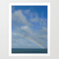 Rainbow over the sea Art Print