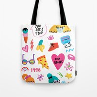 90s Tote Bags featuring 90s by melissa chaib