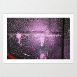 urban surface closeup vilet spray paint wall Art Print
