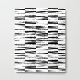 Broken Stripes pattern black and white modern urban brooklyn monochromatic print design ink  Metal Print
