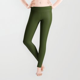 Peony Drama ~ Garden Green Coordinating Solid Leggings