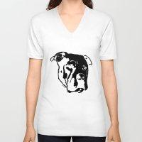 pitbull V-neck T-shirts featuring COACH - BLACK by Kirk Scott
