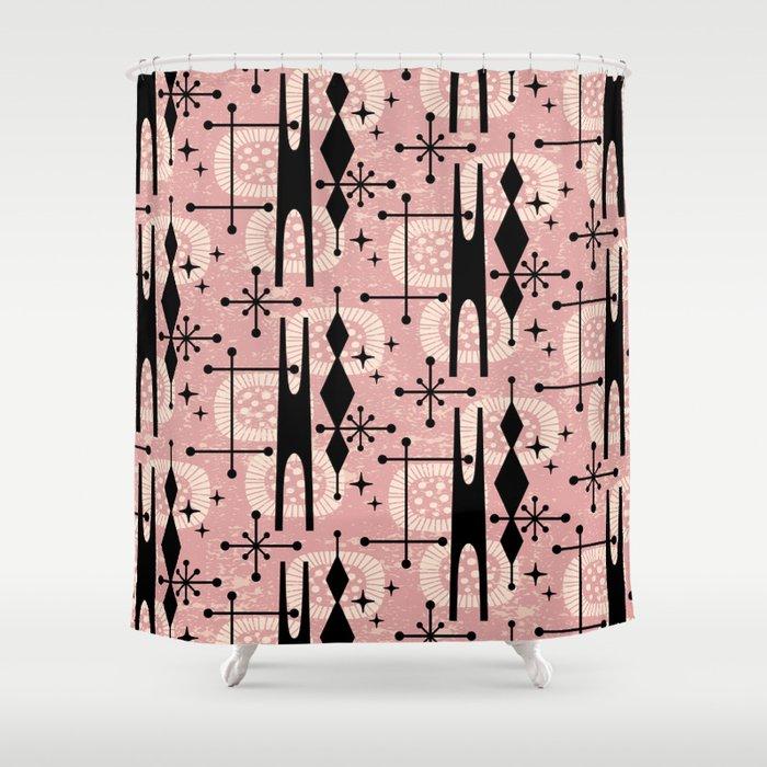 Retro Atomic Mid Century Pattern 771 Dusty Rose Shower Curtain