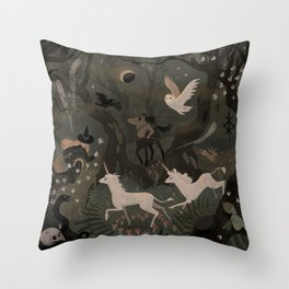 Spooky Forest with Ghosts Throw Pillow