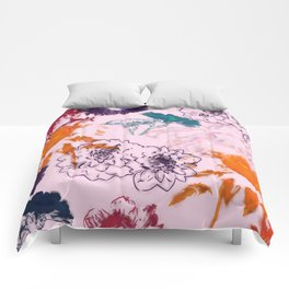 fall floral pink Comforters