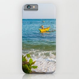 Fisherman in yellow fishing boat on Sri Lankan Ocean | Landscape photography wall art iPhone Case