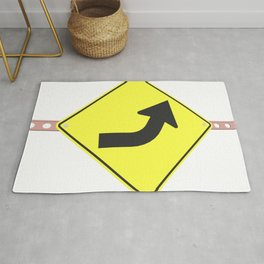 """""""Curve"""" - 3d illustration of yellow roadsign isolated on white background Rug"""