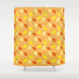Orange Auspicious Momiji Maple Leaf Japanese Kimono Pattern Shower Curtain