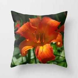 Fiery Daylily Flower - Hemerocallis 'Coleman Hawkins' Throw Pillow