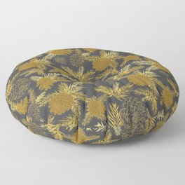 Pinecone Leaves in Charcoal Grey and Gold Floor Pillow