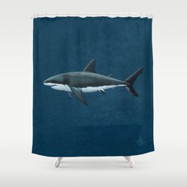 """Carcharodon carcharias"" by Amber Marine  ~ Great White Shark Art, (Copyright 2015) Shower Curtain"