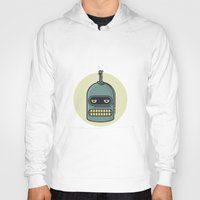 bender Hoodies featuring Bender by Thiago Grossmann