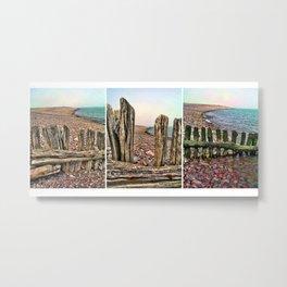 Porlock Beach Triptych. Metal Print