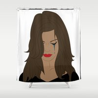 angelina jolie Shower Curtains featuring Jolie by Mi Absurda Osadía