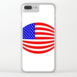 USA Stars and Stripes Flag Wide Clear iPhone Case