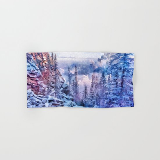 Winter forest in the mountains II Hand & Bath Towel