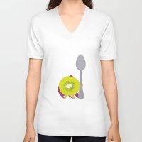 kiwi V-neck T-shirts featuring Kiwi! by Ororon