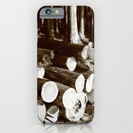Stacked logs iPhone Case