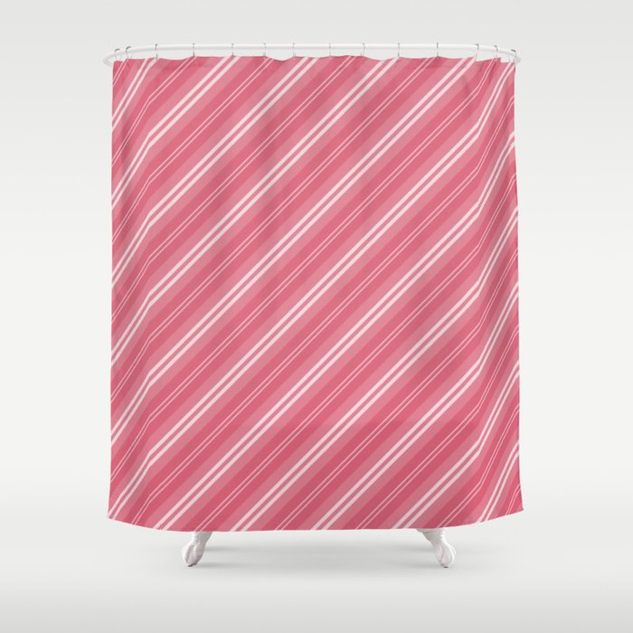 Soft Nantucket Red White Diagonal Fade Stripes Shower Curtain