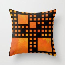Visopolis V1 - orange flames Throw Pillow