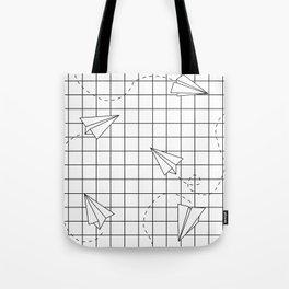 Paper Planes Grid Tote Bag
