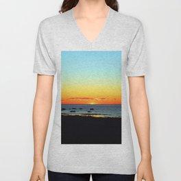 Traditional Seaside Sunset Unisex V-Neck