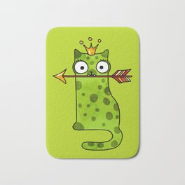 Green princess frog cat from a fairy tale is waiting for love Bath Mat