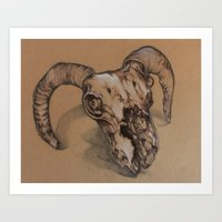 ram Art Prints featuring Ram by NIA ROO