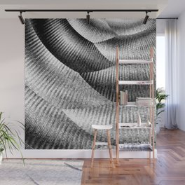Metallic mesh texture - Black and white zigzag with abstract shimmer Wall Mural