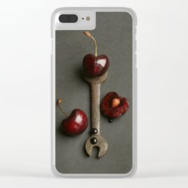 Cherries and Vintage Spanner Clear iPhone Case