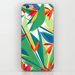 Tropical floral composition, exotic flowers, birds of paradise. iPhone Skin