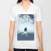 run V-neck T-shirts featuring run by habish