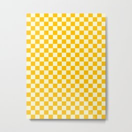 Cream Yellow and Amber Orange Checkerboard Metal Print