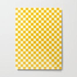 Cream Yellow and Amber Orange Checkerboard Metal Print