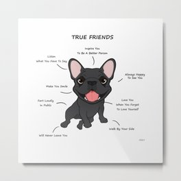 True Friends - Blue Frenchie Metal Print