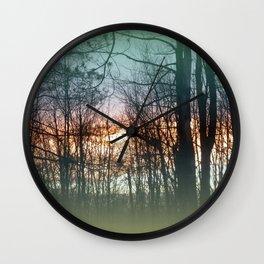 Forest Green Blue Purple Orange Wall Clock