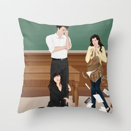 the professor, the pet and the frightened rabbit Throw Pillow