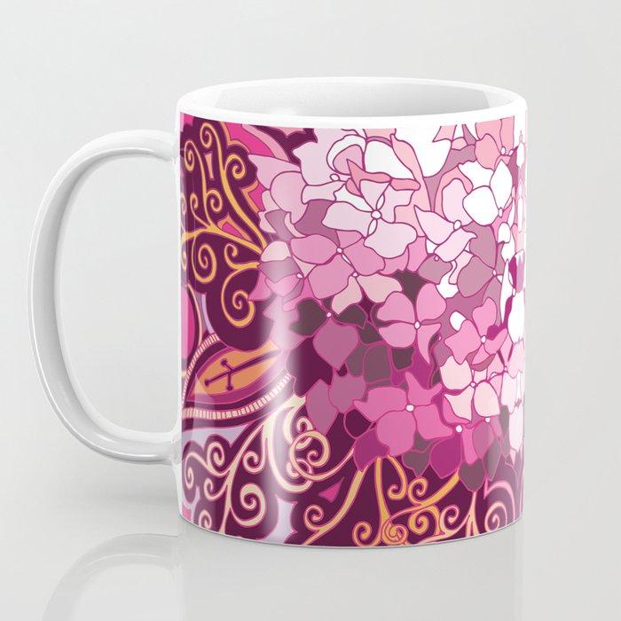 zentangle inspired Hortensia_rose pink doodle Coffee Mug