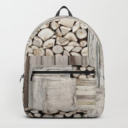 Wood Collage rustic weathered Backpack