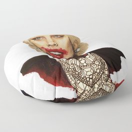 Scary American Lady Singer acting as a Vampire from a Horror Story Floor Pillow