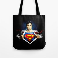 superman Tote Bags featuring Superman by DavinciArt