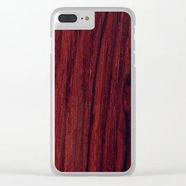 Deep red wood veneer design Clear iPhone Case