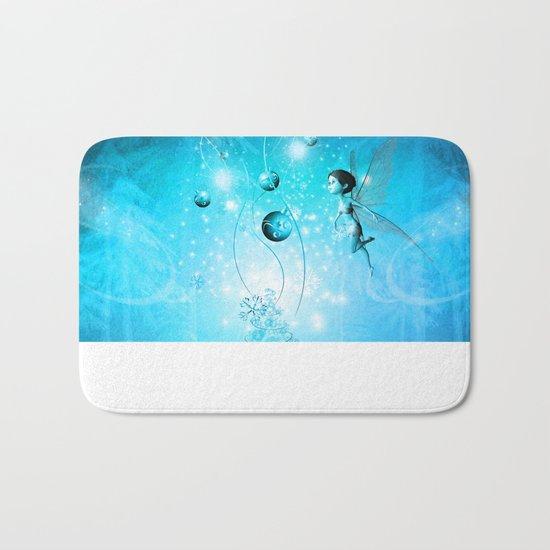 Cute elf in blue Bath Mat